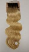 Russian Platinum Body Wave Silk Based Closure W/ Dark Roots 18""
